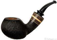 Daniel Mustran Rusticated Bent Apple with Boxwood and Black Palm Pipes at Smoking Pipes .com