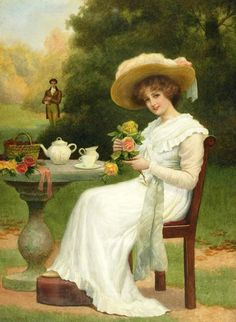 I am imaging a tea room decorated with hundreds of years worth of different portraits of people drinking tea monsieurleprince: Herbert Blande Sparks - - A rose from a suitor Vintage Tea, Vintage Ladies, Vintage Dress, Tee Kunst, Tableaux Vivants, Art Ancien, Victorian Art, Victorian Ladies, Fine Art