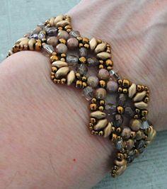 "FLUTTER BRACELET   15/0 seed beads Toho ""Antique Bronze"" (223)  11/0 seed beads Toho ""Antique Bronze"" (223)  8/0 seed beads Toho ""Antique..."