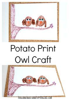 potato print owl art and craft idea for kids