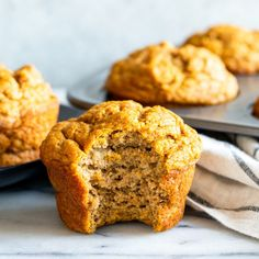 Healthy Peanut Butter Banana Muffins - Fox and Briar Baked Greek Chicken, Oven Baked Chicken Parmesan, Roasted Chicken, Peanut Butter Banana, Healthy Peanut Butter, Baby Food Recipes, Fall Recipes, Toddler Recipes, Freezer Muffins
