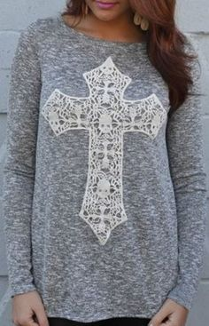 Love the Lace Cross! Grey and White Casual Scoop Neck Laced Crucifix Pattern Long Sleeve T-Shirt #Weekend #Casual #Grey #White #Cross #T_Shirt #Pattern