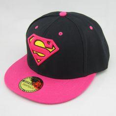 New DC Comics Pink Black Adjustable Snapback Superman flat baseball Hat cap