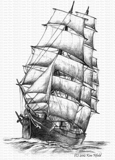 Fat Fergus Designs: Sailing Ship Windermere, pencil on paper