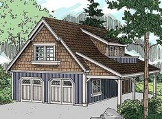 Garage apartment plans are closely related to carriage house designs. Typically, car storage with living quarters above defines an apartment garage plan. View our garage plans. 2 Car Garage Plans, Garage Plans With Loft, Garage Apartment Plans, Garage Apartments, Garage Ideas, 2 Story Garage, Detached Garage Plans, Apartment Cost, Detached Garage Designs