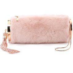 Monique Lhuillier Kate Mink Clutch ($2,215) ❤ liked on Polyvore featuring bags, handbags, clutches, blush, pink glitter purse, mink handbag, tassel purse, zipper purse and glitter handbags