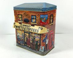 Vintage Silver Crane Tin- J.S. Bindley Sweets and Toffees, Two-Story Brick Building Tin