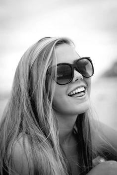 black, black and white, #blonde, #girl, #glasses