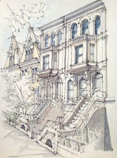 Townhouses - James Anzalone / 8th Avenue between Garfield and 1st Street. Morning sketch on a beautiful spring day. Park Slope, Brooklyn. Ink and watercolor.