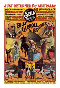 Billy Carroll and Brother (Clowns): Sells Brothers Circus 12x18 Giclee on canvas