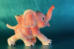 Trunk up for luck. The real McCoy made in Ohio. Ceramic Elephant, Vintage Elephant, Elephant Planter, Happy Elephant, Mccoy Pottery Vases, Antique Pottery, Ceramic Pottery, Vintage Planters, Ceramic Planters