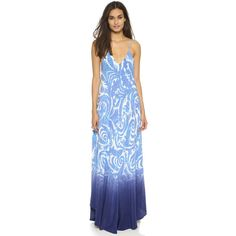 Charlie Jade Blue Waves Silk Maxi Dress ($195) ❤ liked on Polyvore featuring dresses, blue, ombre maxi dress, blue maxi dress, silk dress, blue v neck dress and paisley dress