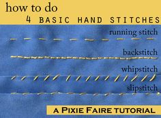 How to do Four Basic Hand stitches | Tutorial on Pixie Faire.com | Pixie Faire