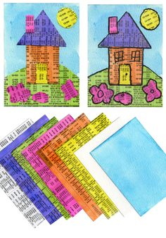 ATC House Collage : another use for phone book other than pressing leaves:)