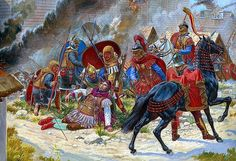 Año 265, el Emperador Galieno resulta herido mientras asedia una ciudad gala bajo el poder de Póstumo, en obra de Igor Dzis. Más en www.elgrancapitan.org/foro