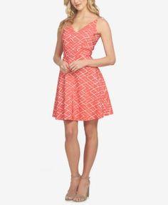 CeCe Jacquard Fit & Flare Dress