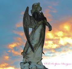 After the Storm Sunset Angel New Orleans Cemetery Photography