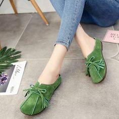 9de81768753 Soft Tassel Bowknot Slip On Lazy Portable Comfortable Flat Loafers For Women