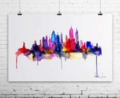 New York City Art Print - Watercolor Painting - Wall Art   @Karen Jacot Plate i will do this for you if you want.