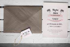 Boda Sara&Nacho, invitación de petipress. Palmeras, palm tree, beach wedding, pink, rosa, invitation