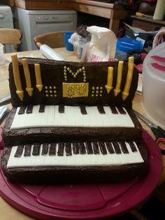 Homemade church organ cake birthday anniversary chocolate gold vanilla