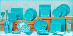 Blue Tableware - Caribbean Blue Party Supplies - Party City