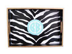 Zebra Painted Tray $55