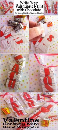 """Give your Valentine a unique and personalized Valentine treat with these Valentine Hershey mini candy bar wrappers.  Wrap a Hershey mini candy bar with all the right letters to spell your Valentine's name or a fun love message.  Great idea for class Valentines, office Valentines, or just a friendly """"thinking of you!"""""""