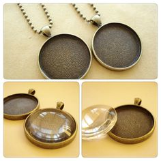 2 sets Round Cabochon Base/ Pendant Tray with 2 by yooounique