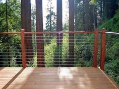 Cable railings, also known as tension wire railings, are useful to install on balconies, decks, and stairways where you don't want to block a view. Porch Railing Kits, Wire Deck Railing, Deck Railing Systems, Railing Ideas, Glass Railing, Balcony Railing, Metal Deck, Balcony Deck, Railing Design