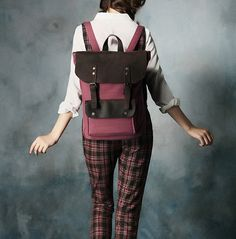 Genuine Leather Canvas Backpack / Canvas Bag / Laptop Bag / Travel Bag / Leather Bag in Pink