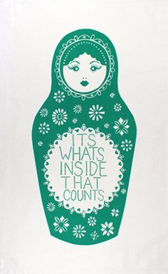 A perfect, turquoise tea towel illustrating the perfect sentiment; words of wisdom