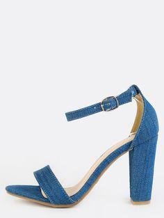 #MakeMeChic - #MAKEMECHIC Denim Open Toe Chunky Heels DENIM - AdoreWe.com