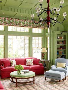 Wohnen mit Farben - Wandfarbe Rot, Blau, Grün und Grau: Wand in ...
