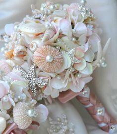 Pink Sea Shell wedding bouquet, Blush Bridal Bouquet, Bridal Brooch Bouquet.Seashell Bouquet,