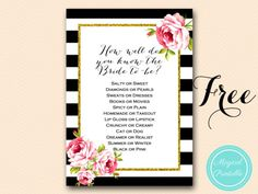 Free Gold Black Stripes Bridal Shower Games - Bridal Shower Ideas - Themes
