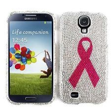 Samsung Galaxy S 4 Diamond Bling Hard Case Cover Breast Cancer Awareness FD270