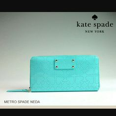 NWT KATE SPADE ZIP WALLET WLRU4111. Other features of this?beautiful and versatile?wallet include:  *?Kate Spade?beautiful pvc patent leather?fabric  * Matching?genuine pvc patent leather trim.  * Wallet is embossed with black Kate Spade signature studs (please see the close-up photo above for better design detail).  * Printed Kate Spade New York license plate.  * 14K light gold plated hardware throughout.  * Zip around continental wallet; zipper goes three-quarters away around…