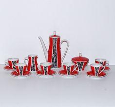Mid Century Modern Freiberg Porcelain Coffee Set for 6