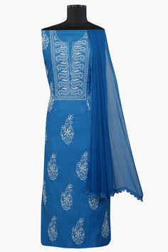 #Ada #handembroidered #CeruleanBlue #Chanderi #Lucknowi #Chikan #UnstitchedSuit Piece–A564026 offers a comfortable and relaxed silhouette to the wearer, the fabric and #embroidery is skin friendly  #Adachikan #chikankari #chikanstitches #chikanembroidery #lakhnavi