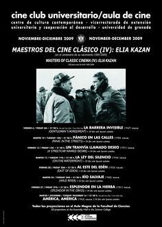 """Para conmemorar el centenario del nacimiento del cineasta """"Elia Kazan"""", el Cine Club Universitario ofreció en 2009 una amplia retrospectiva de su obra. Sus primeros títulos, de alto contenido social, como """"La barrera invisible"""" o """"Pánico en las calles"""", sus obras maestras de profundo carácter autobiográfico como """"La ley del silencio"""" o """"Al este del Edén"""", hasta su films de los años 60 cargados de un intenso lirismo caso de """"Río salvaje"""" y """"Esplendor en la hierba""""."""
