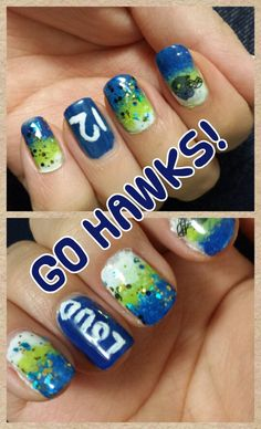 My seahawk nails are ready for the big game!