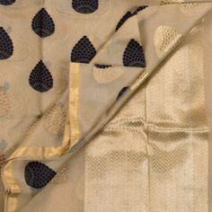 Sailesh Singhania Handwoven Kora Silk Sari 1007011 - Sari / All Saris - Parisera
