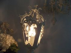 The Best Old Shabby Vintage Cherub Rose Lamp w Crystals Beaded Bulb Cover   eBay