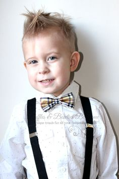 Boys Plaid Bow Tie  Bow Tie  yellowTie  by RufflesBowtique on Etsy