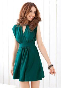 Charming Beaded Collar Waist Shaping Dress Green