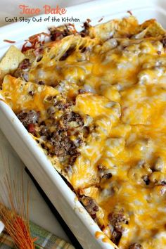 Taco Bake Taco Bake <br> This amazing Tex-Mex casserole is filled with a tasty beef mixture, cheese and tortilla chips. Taco Bake is gluten free. Casserole Recipes, Meat Recipes, Mexican Food Recipes, Casserole Dishes, Dinner Recipes, Cooking Recipes, Taco Bake Casserole, Hamburger Recipes, Potato Recipes