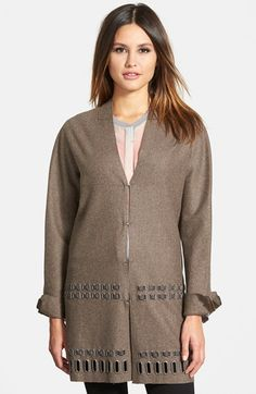 Elie Tahari 'Leann' Grommet Trim Wool Blend Coat available at #Nordstrom