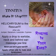 Here's an additional recipe... 15 drops Juniper berry 15 drops Geranium 15 drops Lavender 6 drops Helichrysum 30 drops Fractionated Coconut oil Place in a dark glass bottle. Apply 2-3 drops on earlobe etc and massage. LifeLong Vitality Supplements are also recommended. http://www.mydoterra.com/allthingshealthful/#/