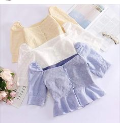 Crop Top Outfits, Cute Casual Outfits, Stylish Outfits, Girls Fashion Clothes, Teen Fashion Outfits, Clothes For Women, Traditional Dresses Designs, Myanmar Dress Design, Mode Kpop